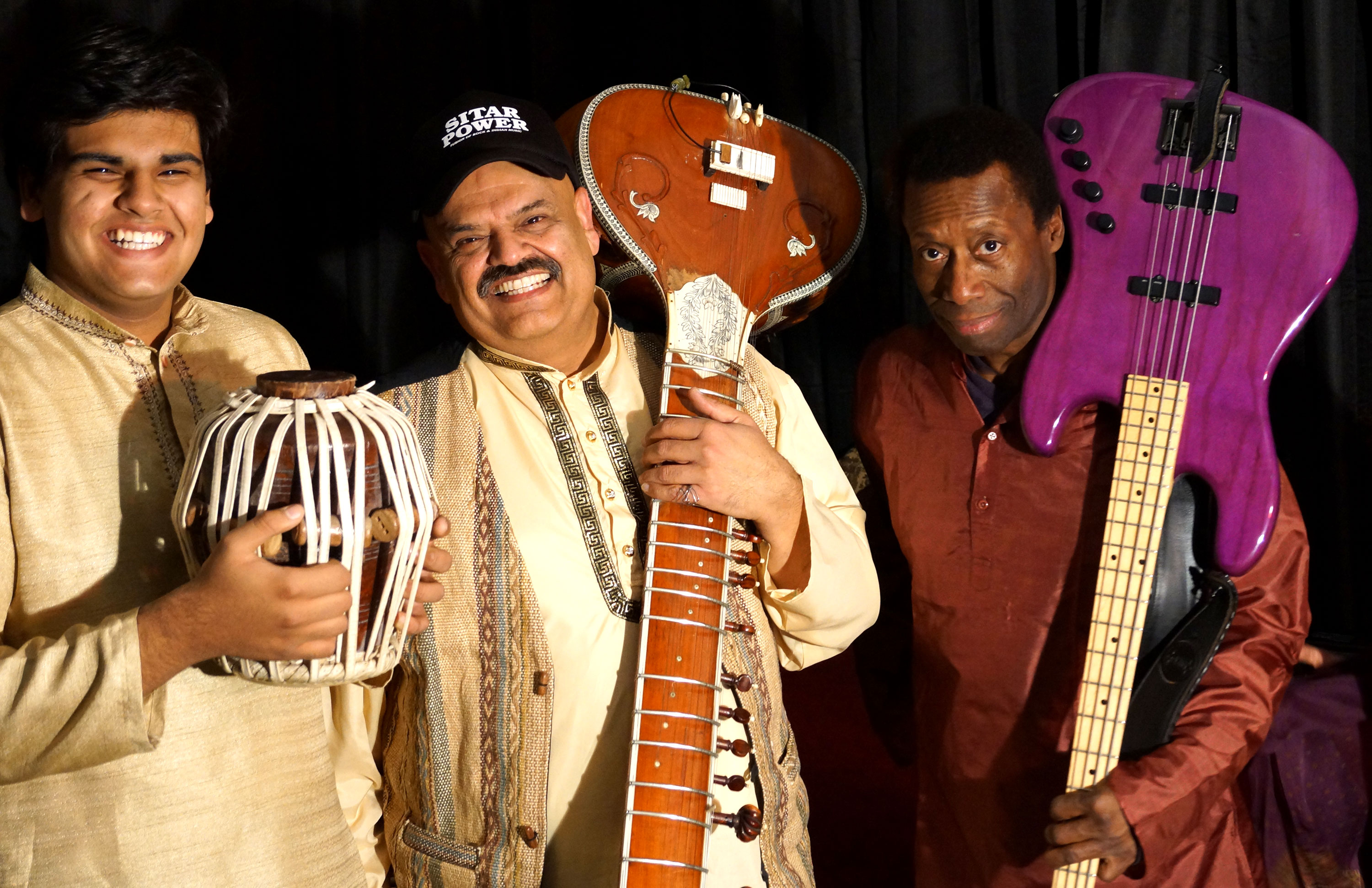 Ashwin Batish and his Sitar Power Trio: With Keshav Batish on Tabla and Drum Set, Myron Dove on Bass and Ashwin Batish on Sitar and Tabla. Picture by Mohini Batish, Santa Cruz, California, USA. All rights reserved. �14 Batish Records. Copyrighted image.
