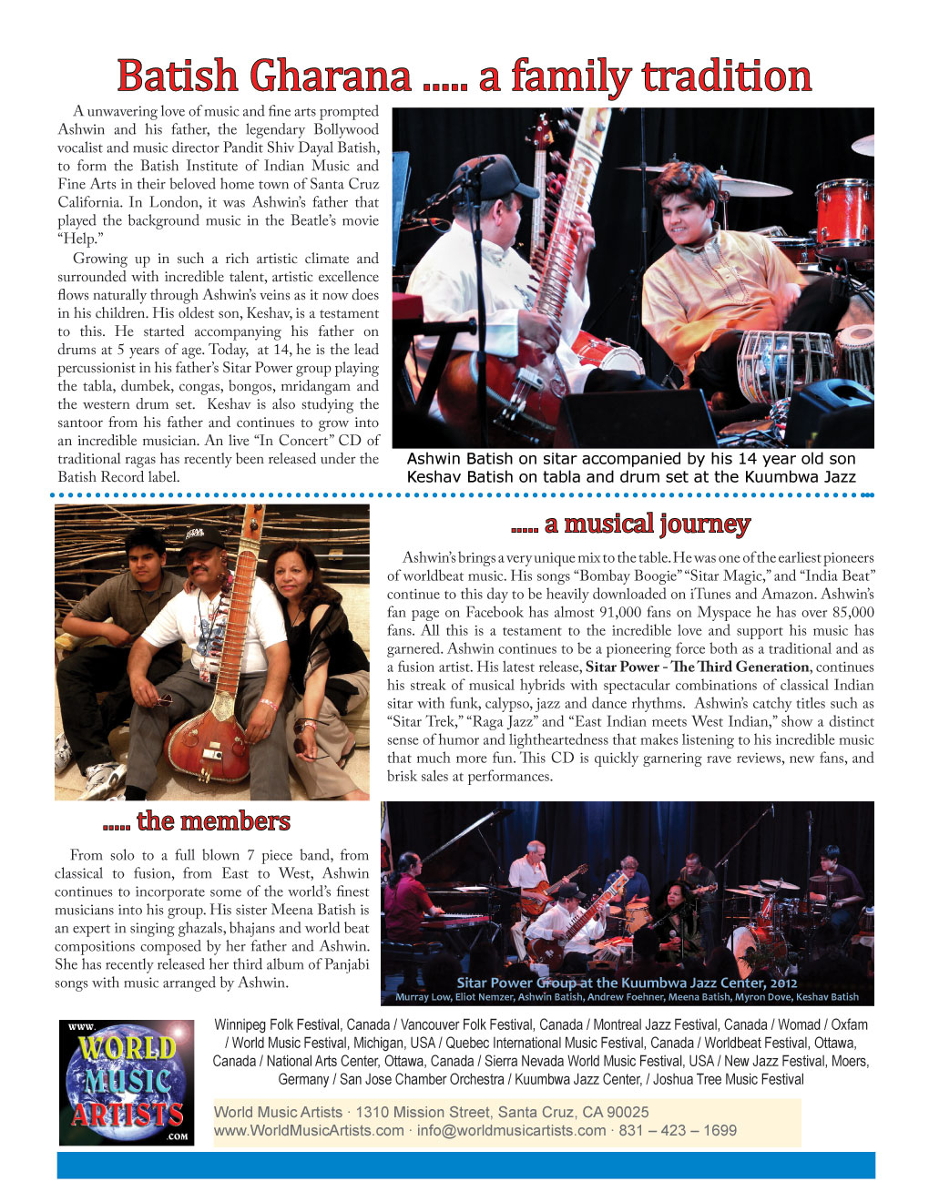World Beat Raga Rock! Sitar Power Man Ashwin Batish Artist One Sheet, Front Page �2012 Ashwin Batish, Batish Records (831) 423-1699