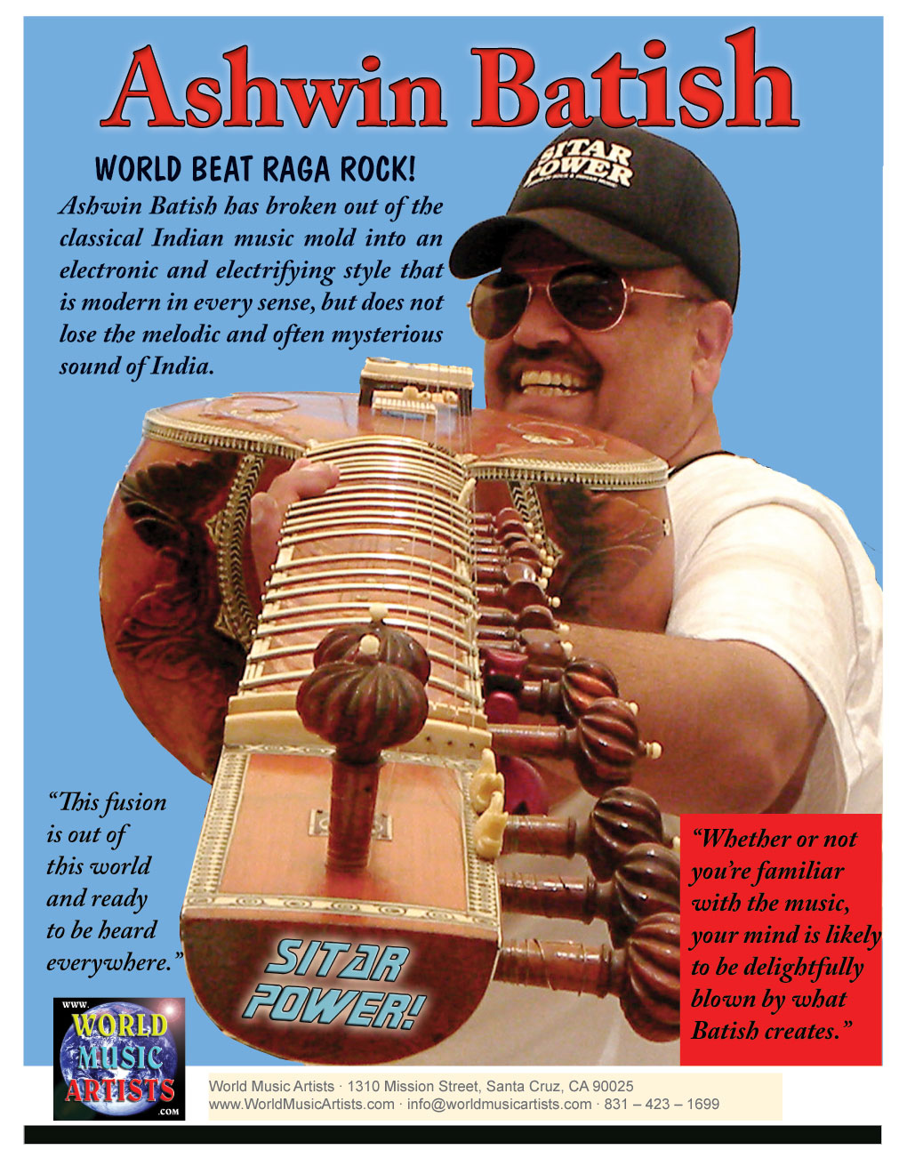 World Beat Raga Rock! Sitar Power Man Ashwin Batish Artist One Sheet, Back  Page �12 Ashwin Batish, Batish Records (831) 423-1699