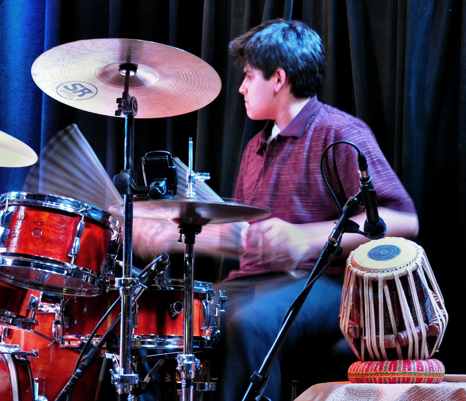 Keshav Batish on drum set - Sitar Power live at the Kuumbwa Jazz Center, Santa Cruz. All rights reserved. �12 Ashwin Batish. Copyrighted image. Photographer Chris Bratt