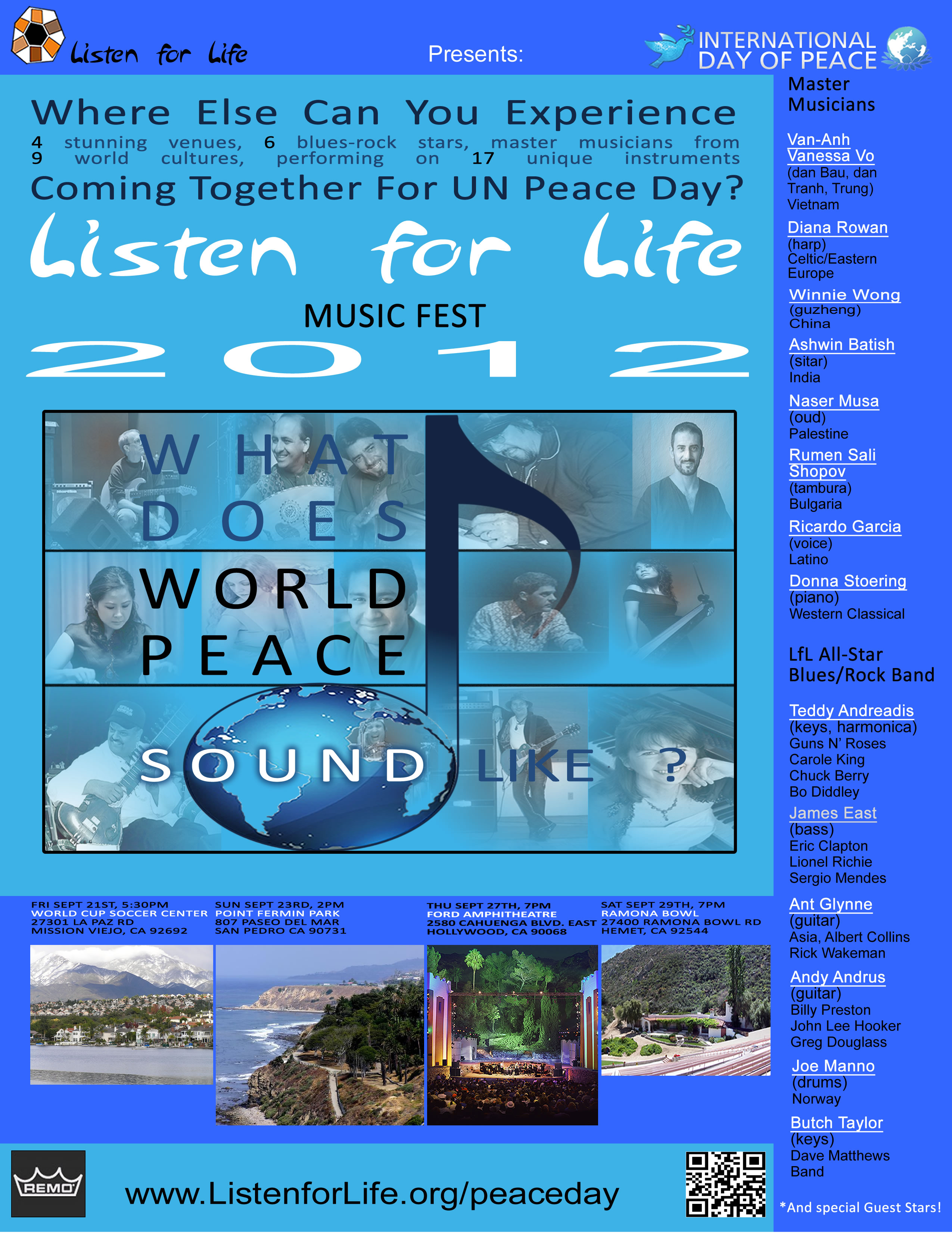 Ashwin Batish Southern California Peace Day concert poster by Listen For Life Foundation.
